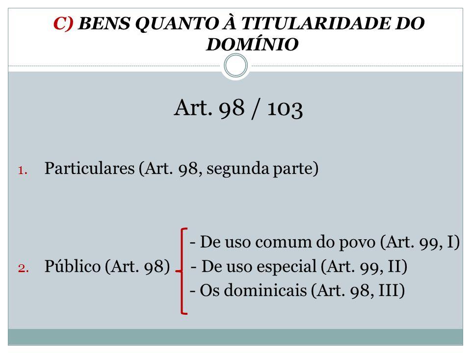 C) BENS QUANTO À TITULARIDADE DO DOMÍNIO Art. 98 / 103 1. Particulares (Art. 98, segunda parte) - De uso comum do povo (Art. 99, I) 2. Público (Art. 9