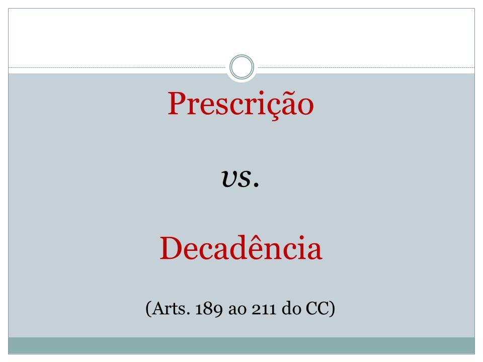Prescrição vs. Decadência (Arts. 189 ao 211 do CC)
