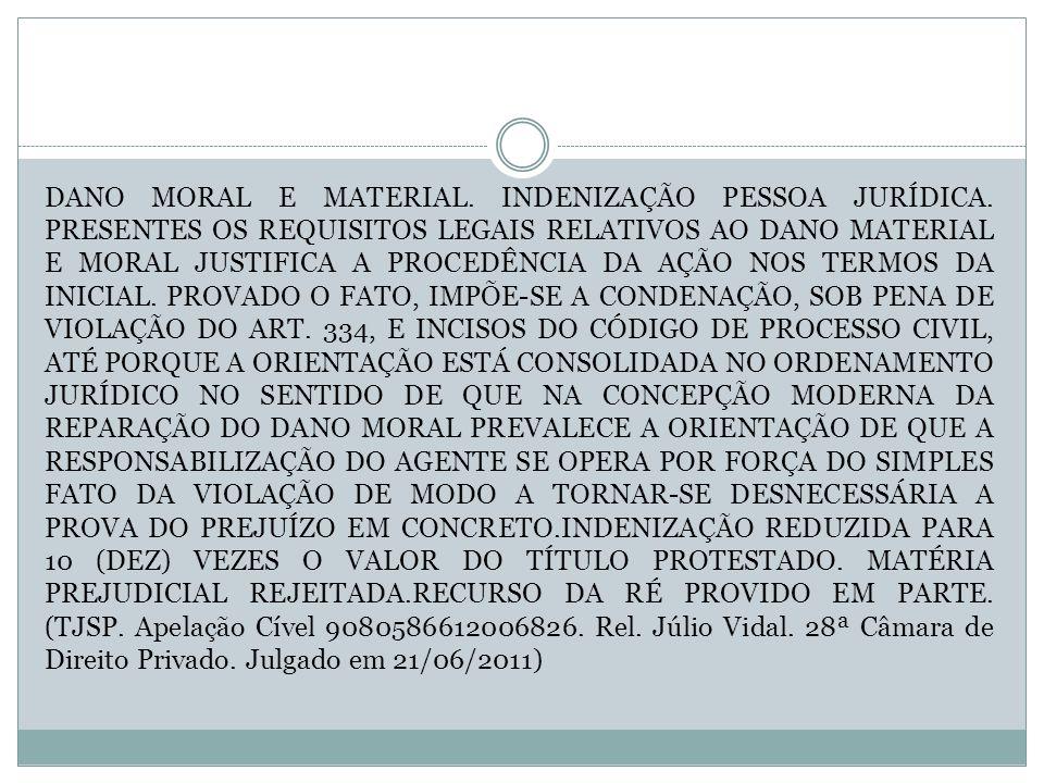 DANO MORAL E MATERIAL. INDENIZAÇÃO PESSOA JURÍDICA. PRESENTES OS REQUISITOS LEGAIS RELATIVOS AO DANO MATERIAL E MORAL JUSTIFICA A PROCEDÊNCIA DA AÇÃO
