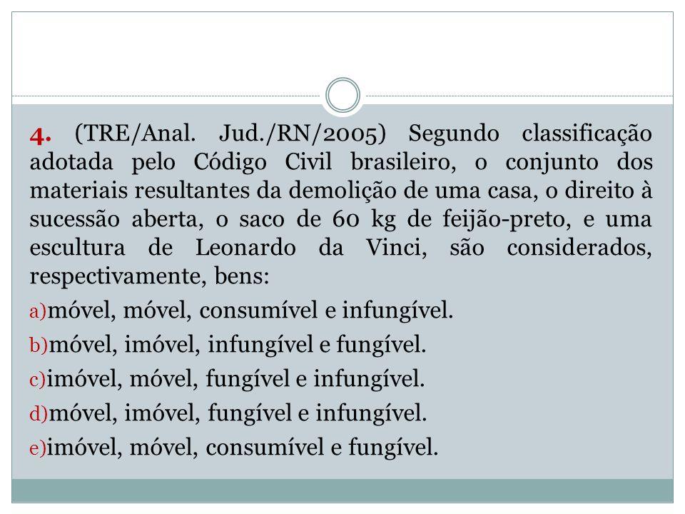 4. (TRE/Anal. Jud./RN/2005) Segundo classificação adotada pelo Código Civil brasileiro, o conjunto dos materiais resultantes da demolição de uma casa,