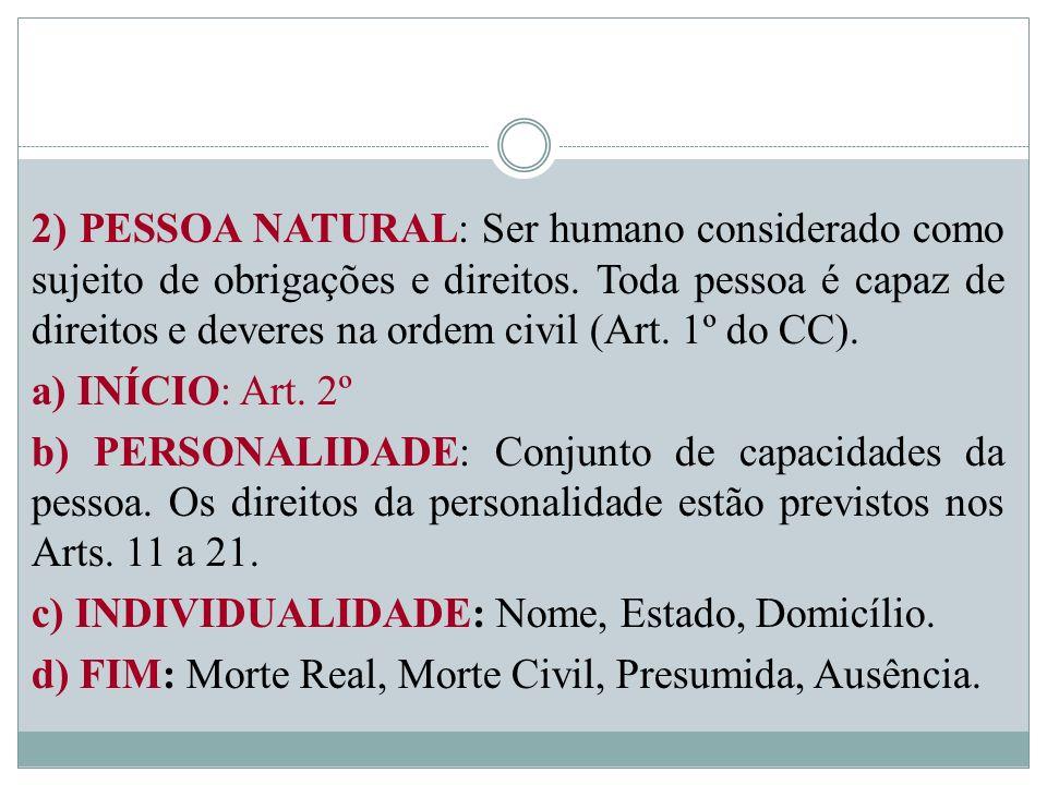 e) COMORIÊNCIA – Art.8º CC f) CAPACIDADE: Aptidões para exercer direitos e assumir obrigações.