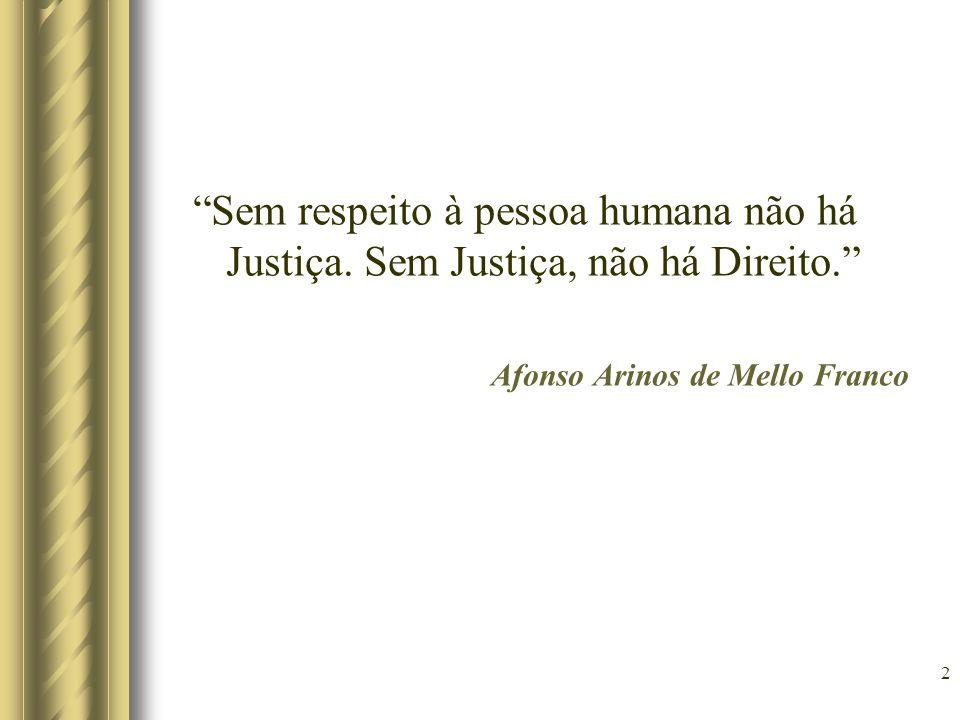 Sem respeito à pessoa humana não há Justiça. Sem Justiça, não há Direito. Afonso Arinos de Mello Franco 2