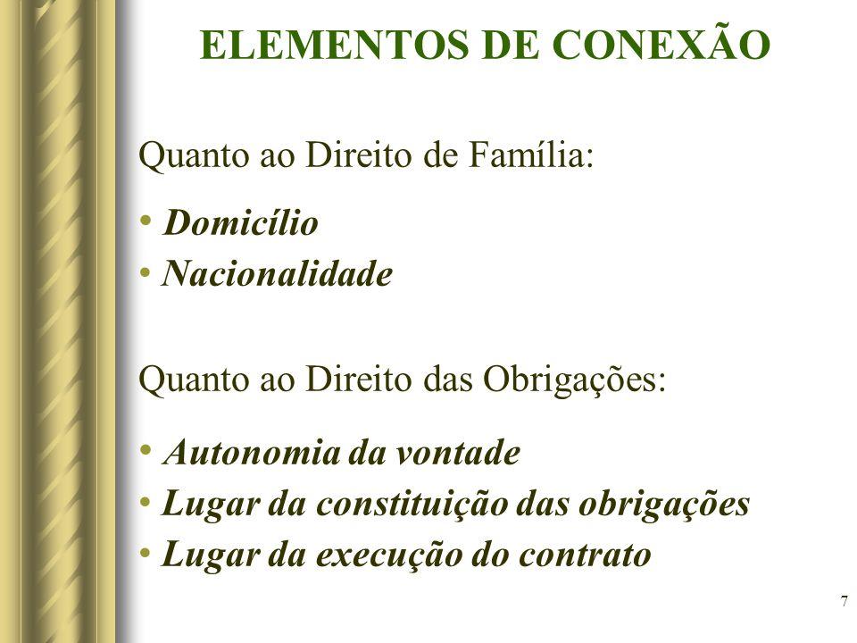 7 ELEMENTOS DE CONEXÃO Quanto ao Direito de Família: Domicílio Nacionalidade Quanto ao Direito das Obrigações: Autonomia da vontade Lugar da constitui