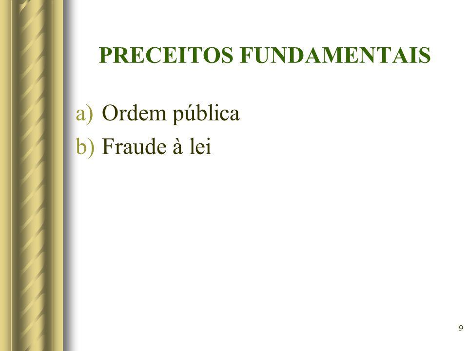 9 PRECEITOS FUNDAMENTAIS a)Ordem pública b)Fraude à lei