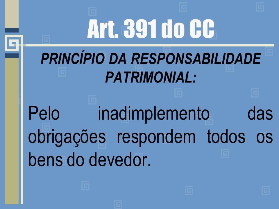 Art. 391 do CC PRINCÍPIO DA RESPONSABILIDADE PATRIMONIAL: Pelo inadimplemento das obrigações respondem todos os bens do devedor.