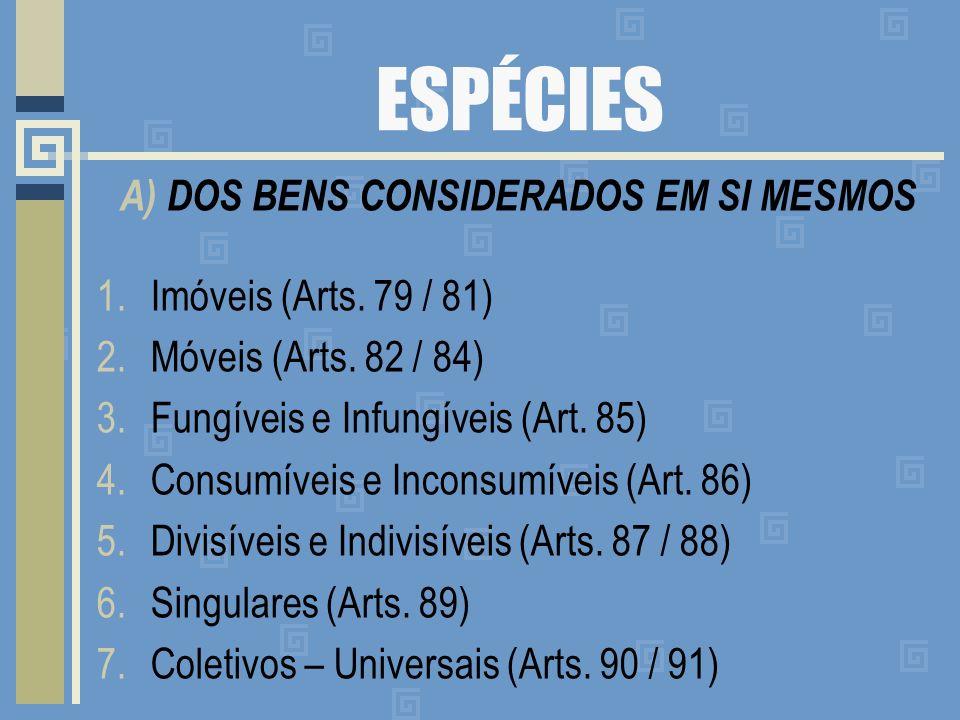 ESPÉCIES A) DOS BENS CONSIDERADOS EM SI MESMOS 1.Imóveis (Arts. 79 / 81) 2.Móveis (Arts. 82 / 84) 3.Fungíveis e Infungíveis (Art. 85) 4.Consumíveis e