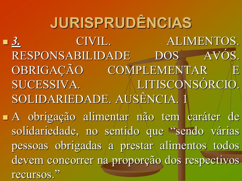 JURISPRUDÊNCIAS 3. CIVIL. ALIMENTOS. RESPONSABILIDADE DOS AVÓS. OBRIGAÇÃO COMPLEMENTAR E SUCESSIVA. LITISCONSÓRCIO. SOLIDARIEDADE. AUSÊNCIA. 1 3. CIVI
