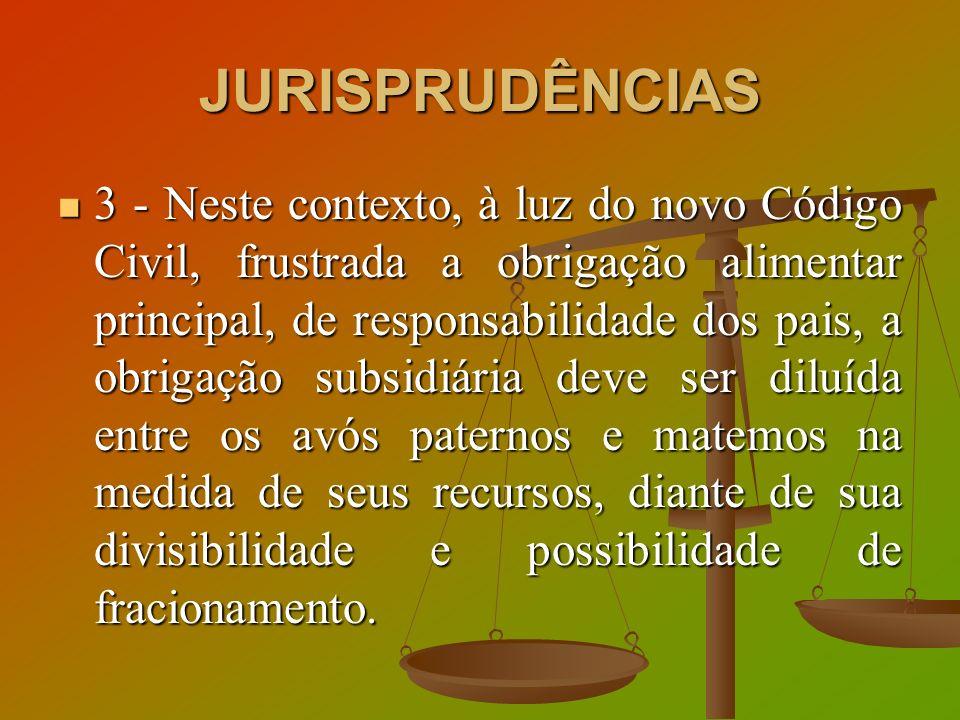 JURISPRUDÊNCIAS 3 - Neste contexto, à luz do novo Código Civil, frustrada a obrigação alimentar principal, de responsabilidade dos pais, a obrigação s