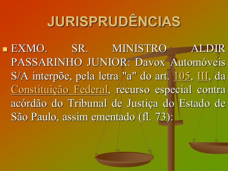 JURISPRUDÊNCIAS EXMO. SR. MINISTRO ALDIR PASSARINHO JUNIOR: Davox Automóveis S/A interpõe, pela letra