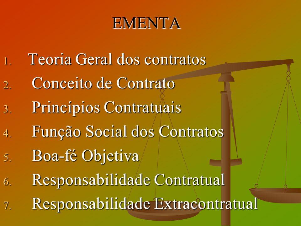 EMENTA 1. Teoria Geral dos contratos 2. Conceito de Contrato 3. Princípios Contratuais 4. Função Social dos Contratos 5. Boa-fé Objetiva 6. Responsabi