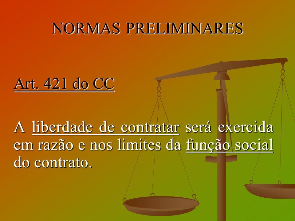 NORMAS PRELIMINARES Art. 421 do CC A liberdade de contratar será exercida em razão e nos limites da função social do contrato.