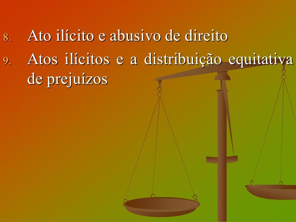 8. Ato ilícito e abusivo de direito 9. Atos ilícitos e a distribuição equitativa de prejuízos