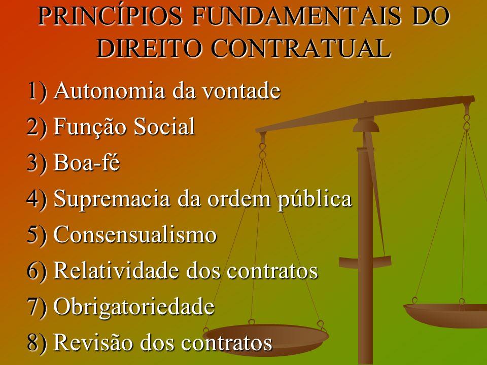 PRINCÍPIOS FUNDAMENTAIS DO DIREITO CONTRATUAL 1) Autonomia da vontade 2) Função Social 3) Boa-fé 4) Supremacia da ordem pública 5) Consensualismo 6) R