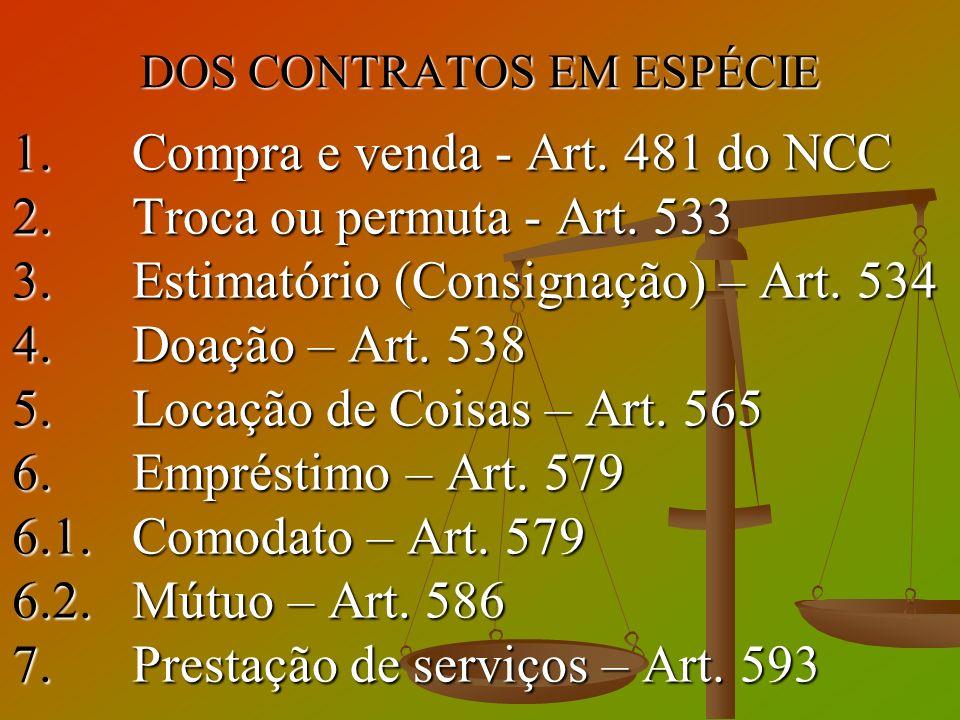 DOS CONTRATOS EM ESPÉCIE 1. Compra e venda - Art. 481 do NCC 2. Troca ou permuta - Art. 533 3. Estimatório (Consignação) – Art. 534 4. Doação – Art. 5