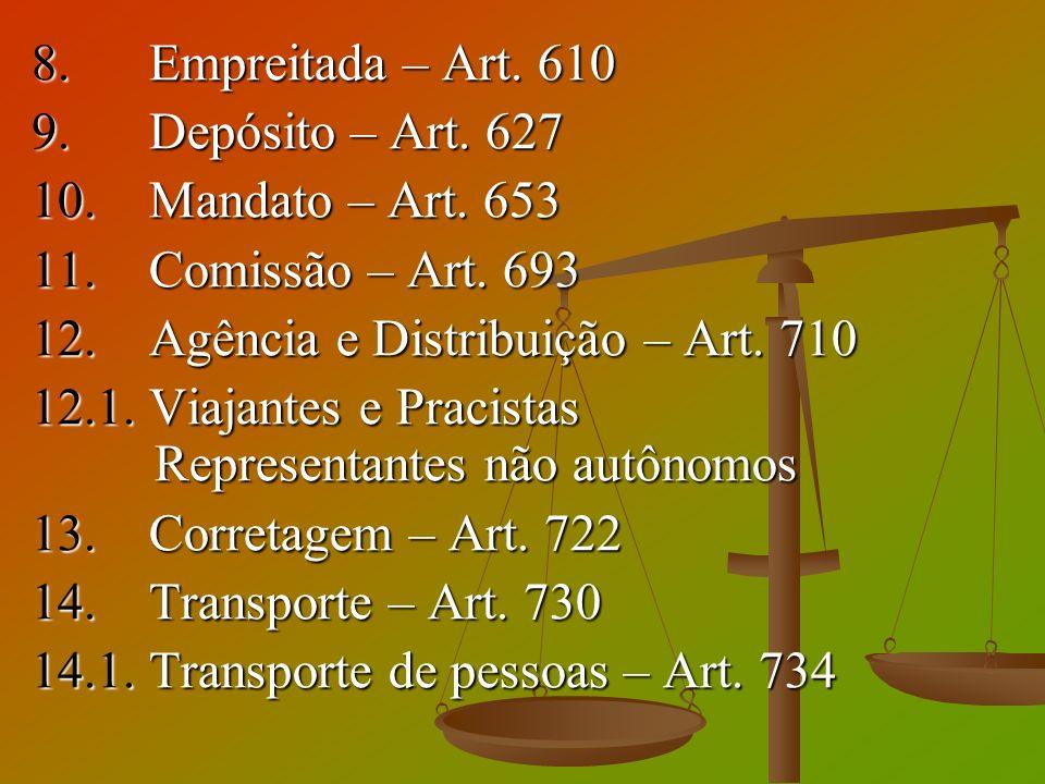 8. Empreitada – Art. 610 9. Depósito – Art. 627 10. Mandato – Art. 653 11. Comissão – Art. 693 12. Agência e Distribuição – Art. 710 12.1. Viajantes e