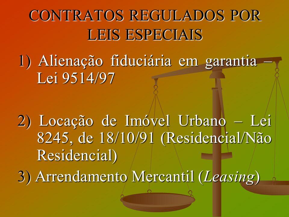 CONTRATOS REGULADOS POR LEIS ESPECIAIS 1) Alienação fiduciária em garantia – Lei 9514/97 2) Locação de Imóvel Urbano – Lei 8245, de 18/10/91 (Residenc