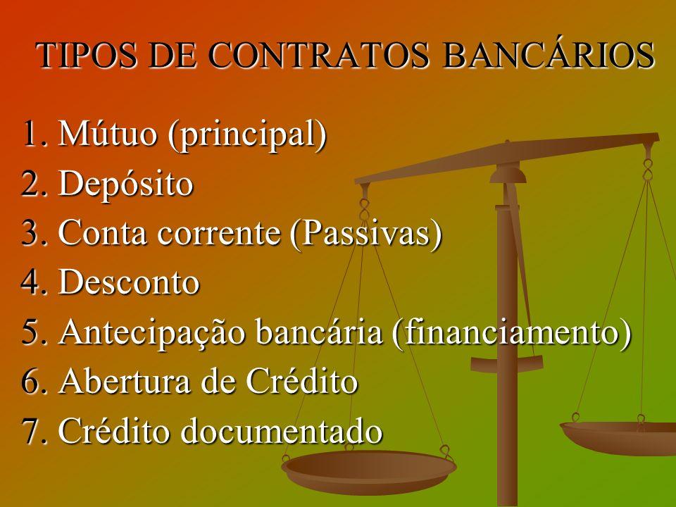 TIPOS DE CONTRATOS BANCÁRIOS 1. Mútuo (principal) 2. Depósito 3. Conta corrente (Passivas) 4. Desconto 5. Antecipação bancária (financiamento) 6. Aber