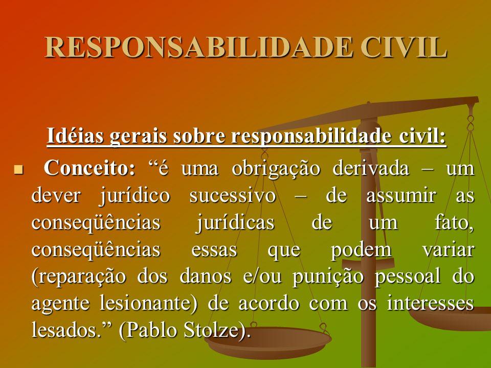Idéias gerais sobre responsabilidade civil: Idéias gerais sobre responsabilidade civil: Conceito: é uma obrigação derivada – um dever jurídico sucessi