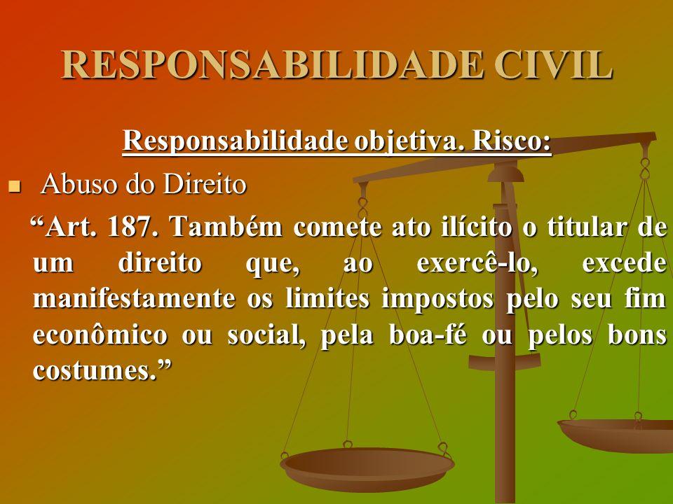 RESPONSABILIDADE CIVIL Responsabilidade objetiva. Risco: Abuso do Direito Abuso do Direito Art. 187. Também comete ato ilícito o titular de um direito