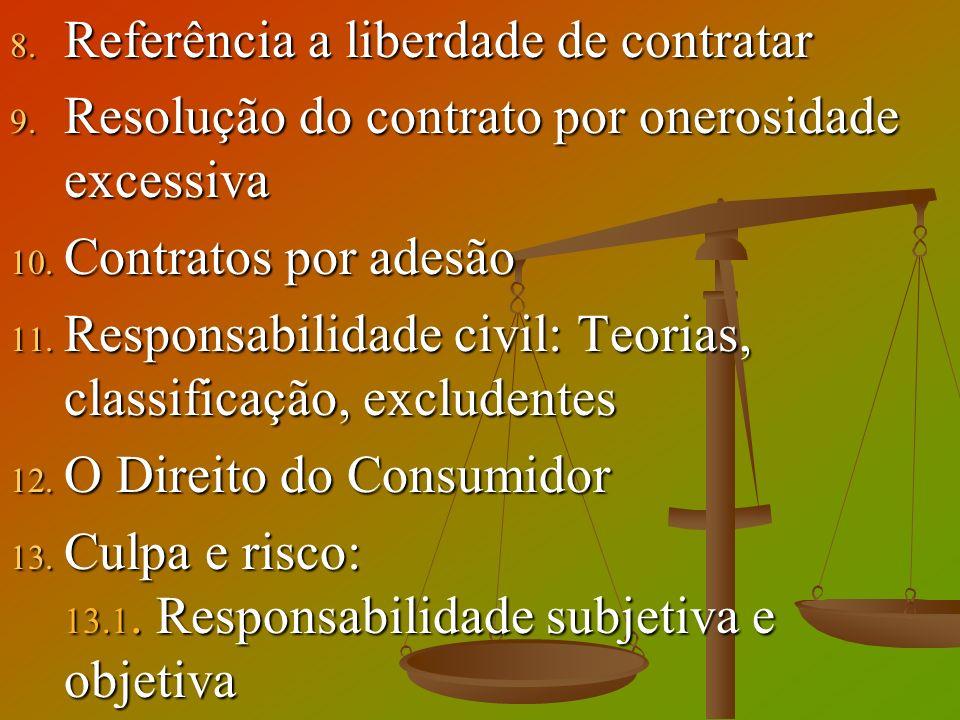 8. Referência a liberdade de contratar 9. Resolução do contrato por onerosidade excessiva 10. Contratos por adesão 11. Responsabilidade civil: Teorias