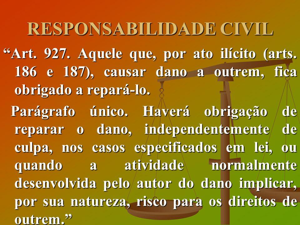 RESPONSABILIDADE CIVIL Art. 927. Aquele que, por ato ilícito (arts. 186 e 187), causar dano a outrem, fica obrigado a repará-lo. Parágrafo único. Have