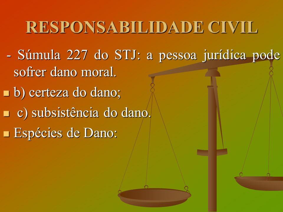 RESPONSABILIDADE CIVIL - Súmula 227 do STJ: a pessoa jurídica pode sofrer dano moral. - Súmula 227 do STJ: a pessoa jurídica pode sofrer dano moral. b