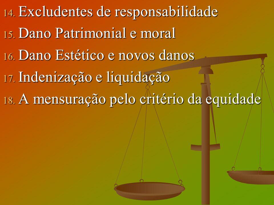 14. Excludentes de responsabilidade 15. Dano Patrimonial e moral 16. Dano Estético e novos danos 17. Indenização e liquidação 18. A mensuração pelo cr