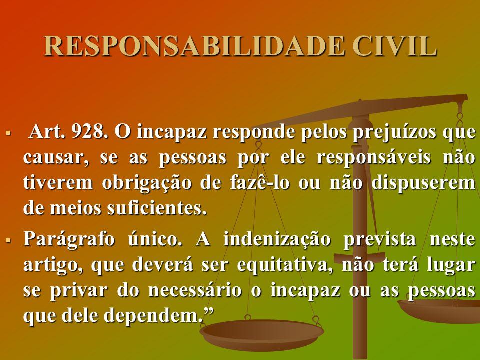 RESPONSABILIDADE CIVIL Art. 928. O incapaz responde pelos prejuízos que causar, se as pessoas por ele responsáveis não tiverem obrigação de fazê-lo ou
