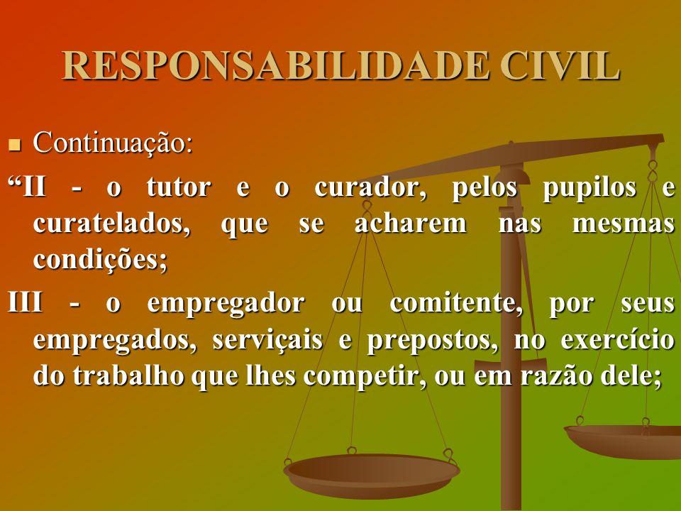 RESPONSABILIDADE CIVIL Continuação: Continuação: II - o tutor e o curador, pelos pupilos e curatelados, que se acharem nas mesmas condições; III - o e