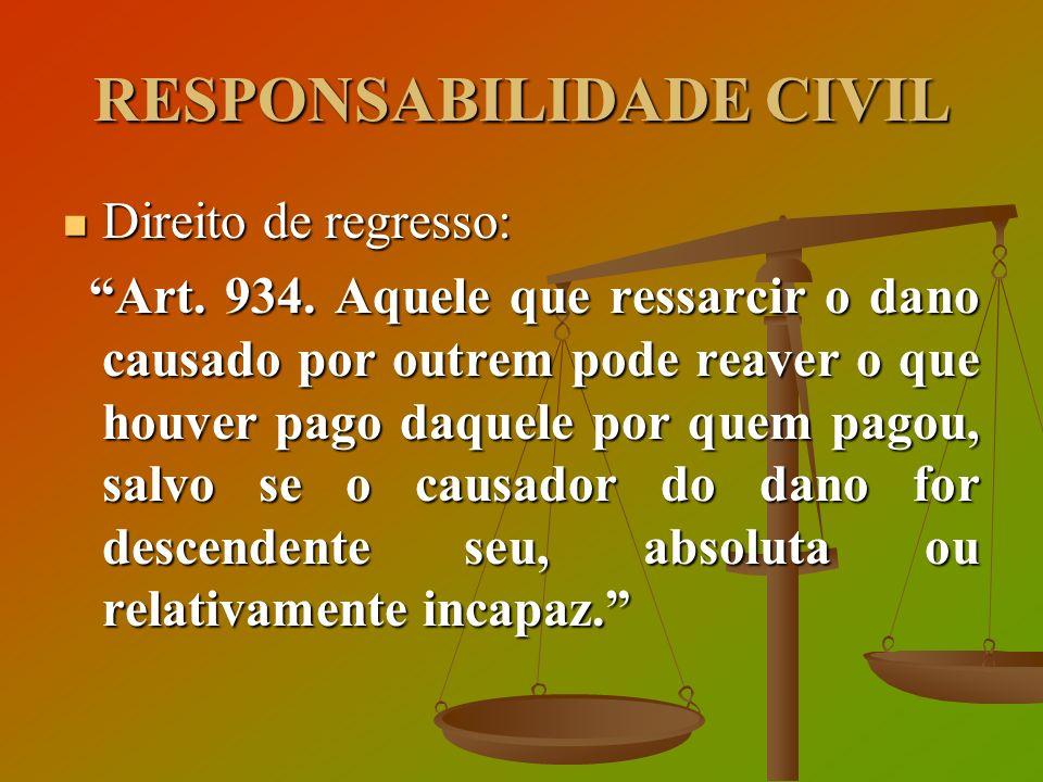 RESPONSABILIDADE CIVIL Direito de regresso: Direito de regresso: Art. 934. Aquele que ressarcir o dano causado por outrem pode reaver o que houver pag