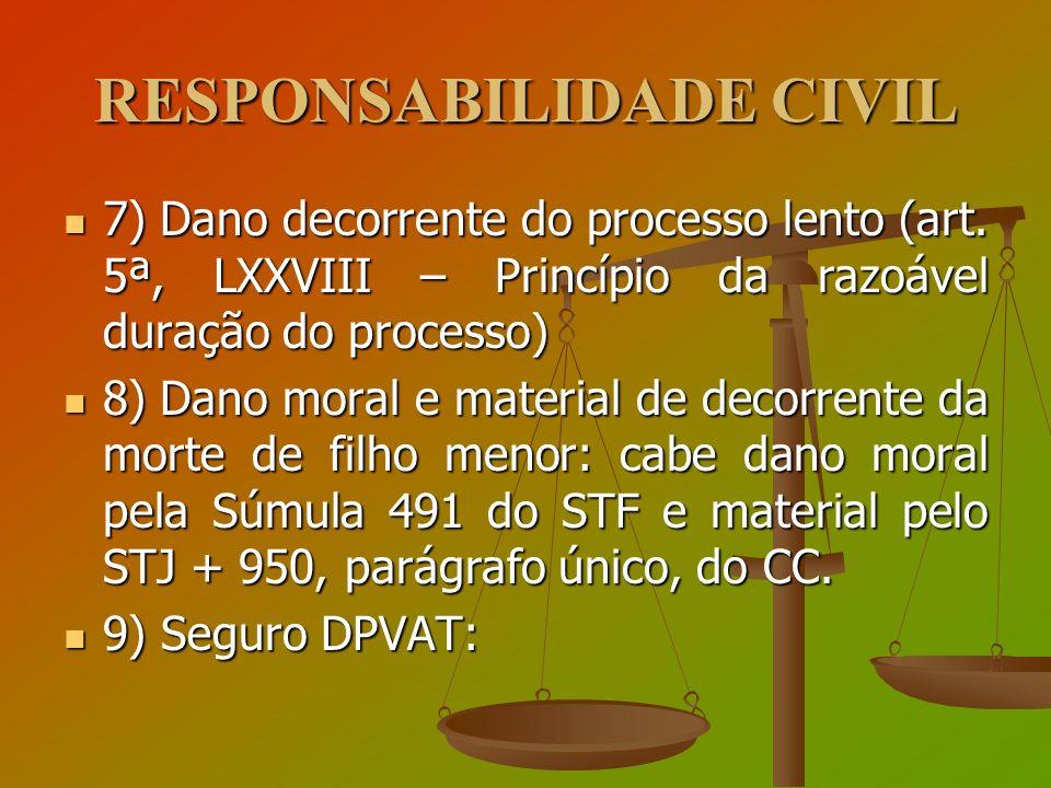 RESPONSABILIDADE CIVIL 7) Dano decorrente do processo lento (art. 5ª, LXXVIII – Princípio da razoável duração do processo) 7) Dano decorrente do proce