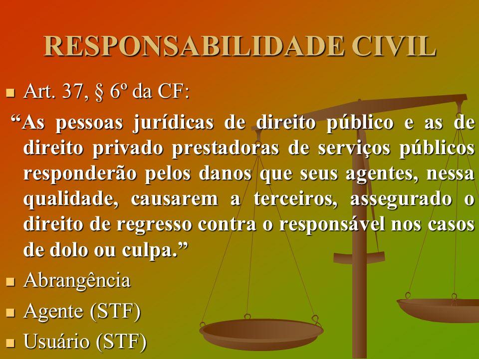 RESPONSABILIDADE CIVIL Art. 37, § 6º da CF: Art. 37, § 6º da CF: As pessoas jurídicas de direito público e as de direito privado prestadoras de serviç