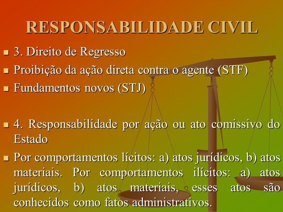 RESPONSABILIDADE CIVIL 3. Direito de Regresso 3. Direito de Regresso Proibição da ação direta contra o agente (STF) Proibição da ação direta contra o