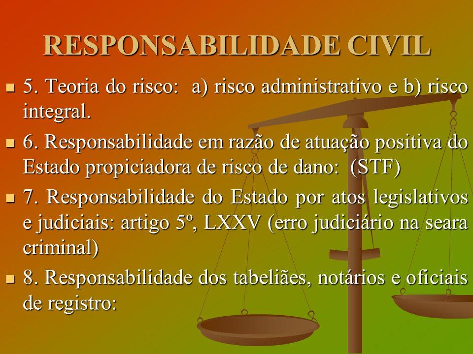 RESPONSABILIDADE CIVIL 5. Teoria do risco: a) risco administrativo e b) risco integral. 5. Teoria do risco: a) risco administrativo e b) risco integra