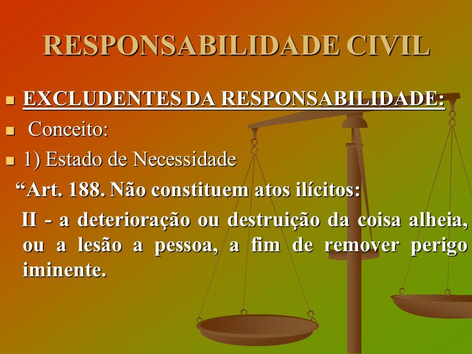 RESPONSABILIDADE CIVIL EXCLUDENTES DA RESPONSABILIDADE: EXCLUDENTES DA RESPONSABILIDADE: Conceito: Conceito: 1) Estado de Necessidade 1) Estado de Nec