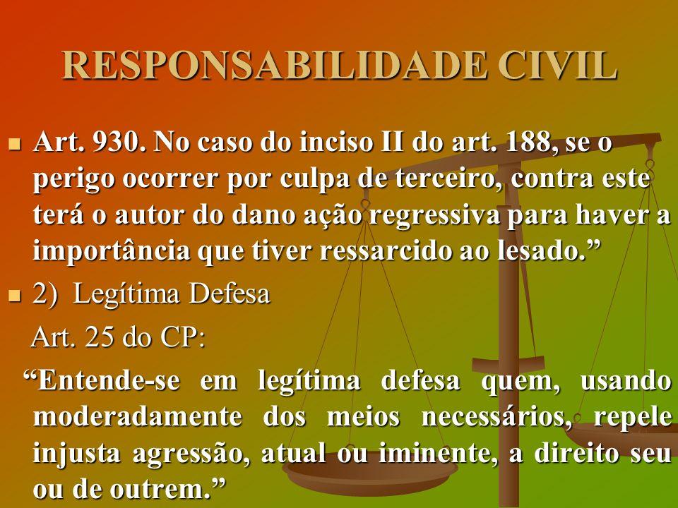 RESPONSABILIDADE CIVIL Art. 930. No caso do inciso II do art. 188, se o perigo ocorrer por culpa de terceiro, contra este terá o autor do dano ação re