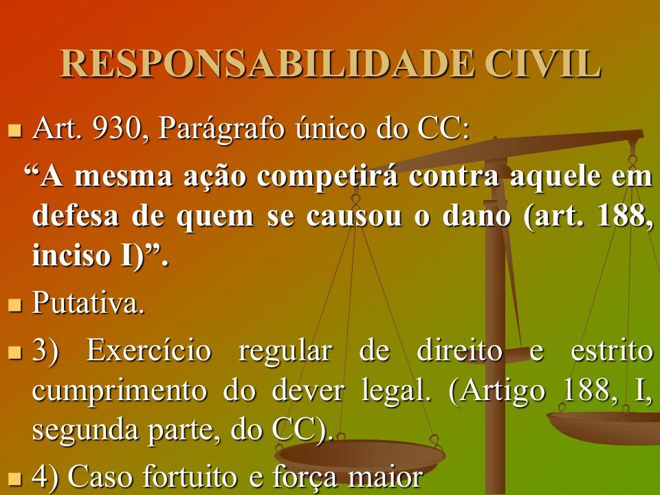 RESPONSABILIDADE CIVIL Art. 930, Parágrafo único do CC: Art. 930, Parágrafo único do CC: A mesma ação competirá contra aquele em defesa de quem se cau