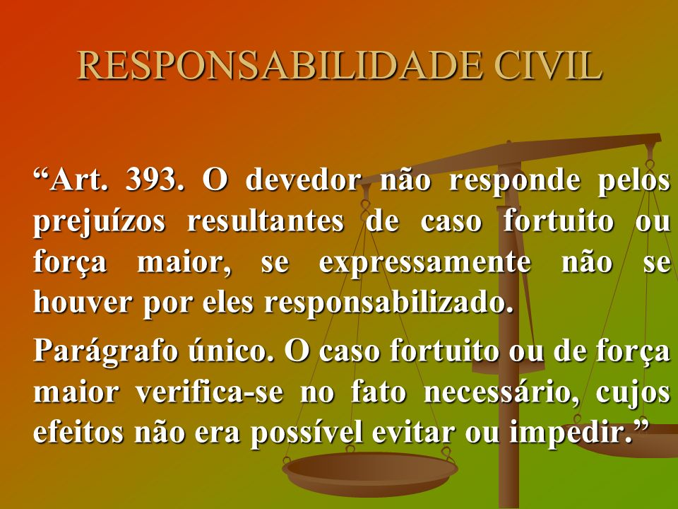 RESPONSABILIDADE CIVIL Art. 393. O devedor não responde pelos prejuízos resultantes de caso fortuito ou força maior, se expressamente não se houver po