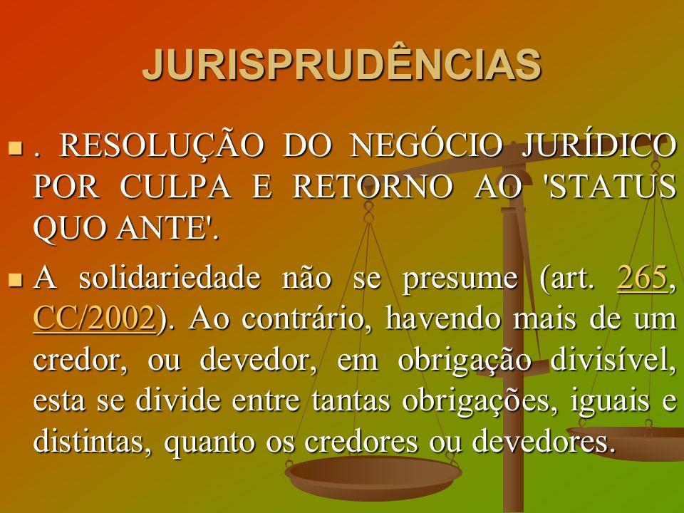 JURISPRUDÊNCIAS. RESOLUÇÃO DO NEGÓCIO JURÍDICO POR CULPA E RETORNO AO 'STATUS QUO ANTE'.. RESOLUÇÃO DO NEGÓCIO JURÍDICO POR CULPA E RETORNO AO 'STATUS