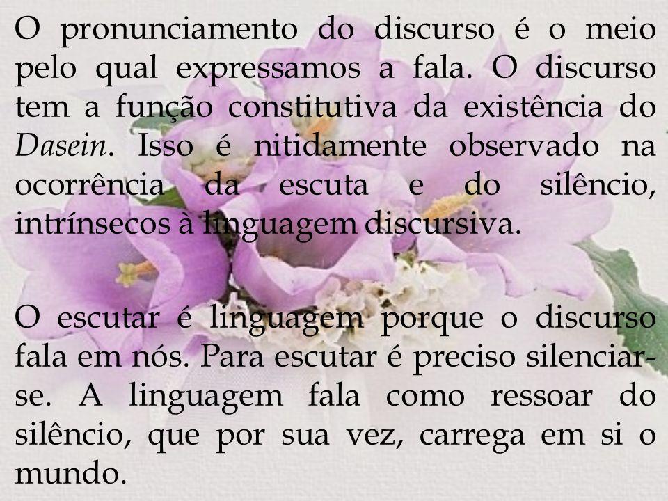 O pronunciamento do discurso é o meio pelo qual expressamos a fala. O discurso tem a função constitutiva da existência do Dasein. Isso é nitidamente o