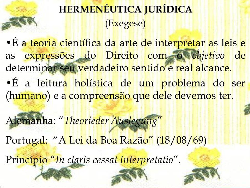 HERMENÊUTICA JURÍDICA (Exegese) É a teoria científica da arte de interpretar as leis e as expressões do Direito com o objetivo de determinar seu verda