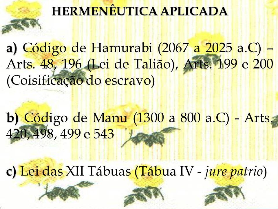 HERMENÊUTICA APLICADA a) a) Código de Hamurabi (2067 a 2025 a.C) – Arts. 48, 196 (Lei de Talião), Arts. 199 e 200 (Coisificação do escravo) b) b) Códi