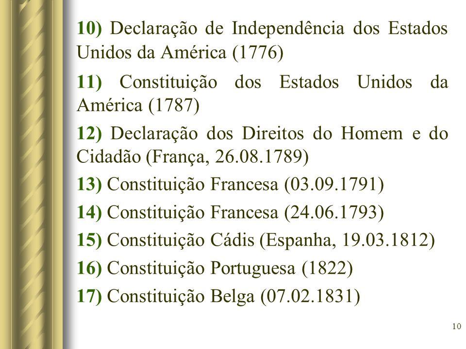 10 10) Declaração de Independência dos Estados Unidos da América (1776) 11) Constituição dos Estados Unidos da América (1787) 12) Declaração dos Direi
