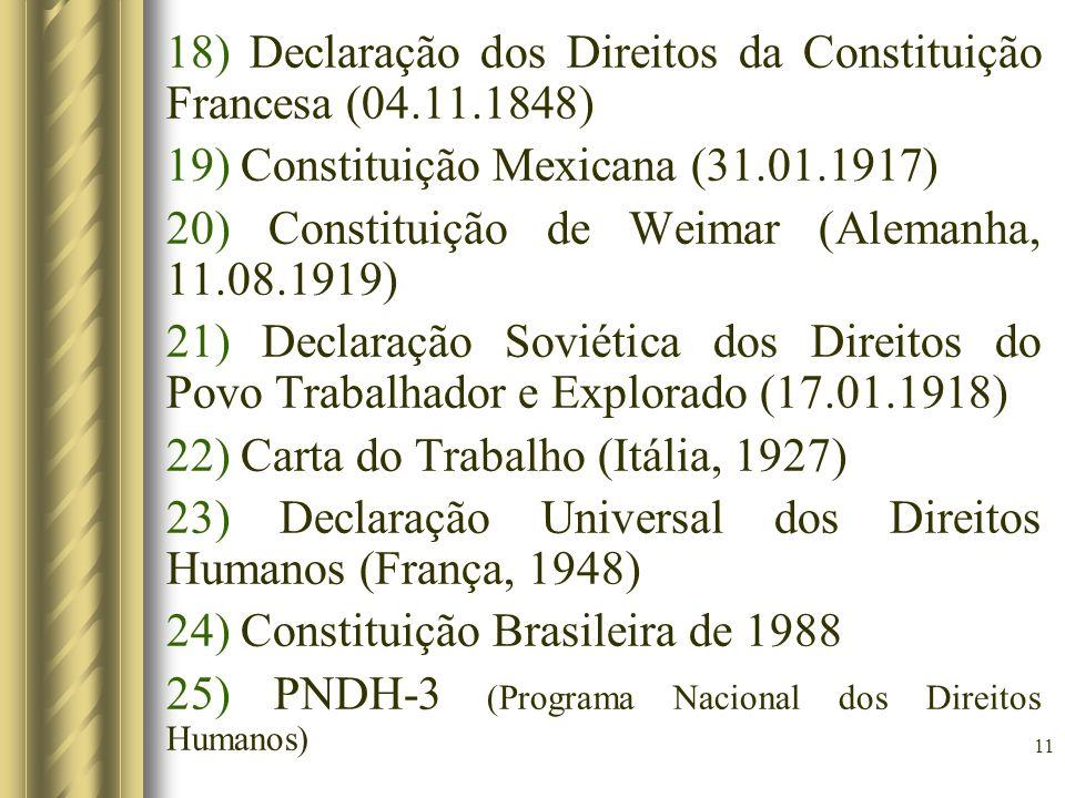 11 18) Declaração dos Direitos da Constituição Francesa (04.11.1848) 19) Constituição Mexicana (31.01.1917) 20) Constituição de Weimar (Alemanha, 11.0