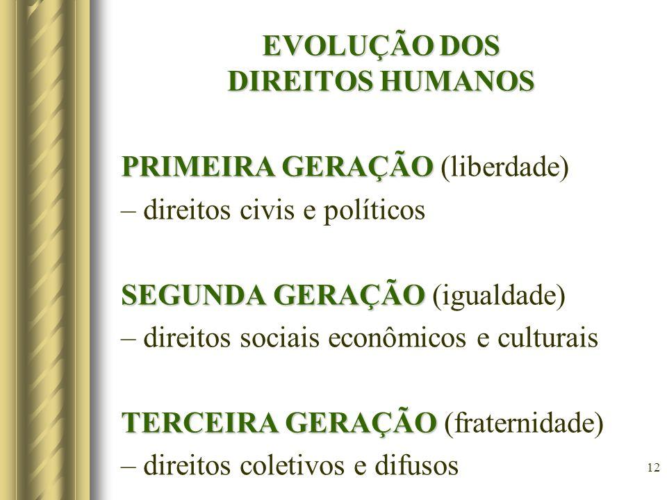12 EVOLUÇÃO DOS DIREITOS HUMANOS PRIMEIRA GERAÇÃO PRIMEIRA GERAÇÃO (liberdade) – direitos civis e políticos SEGUNDA GERAÇÃO SEGUNDA GERAÇÃO (igualdade