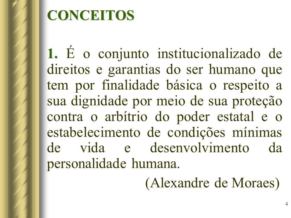 4 CONCEITOS 1. 1. É o conjunto institucionalizado de direitos e garantias do ser humano que tem por finalidade básica o respeito a sua dignidade por m