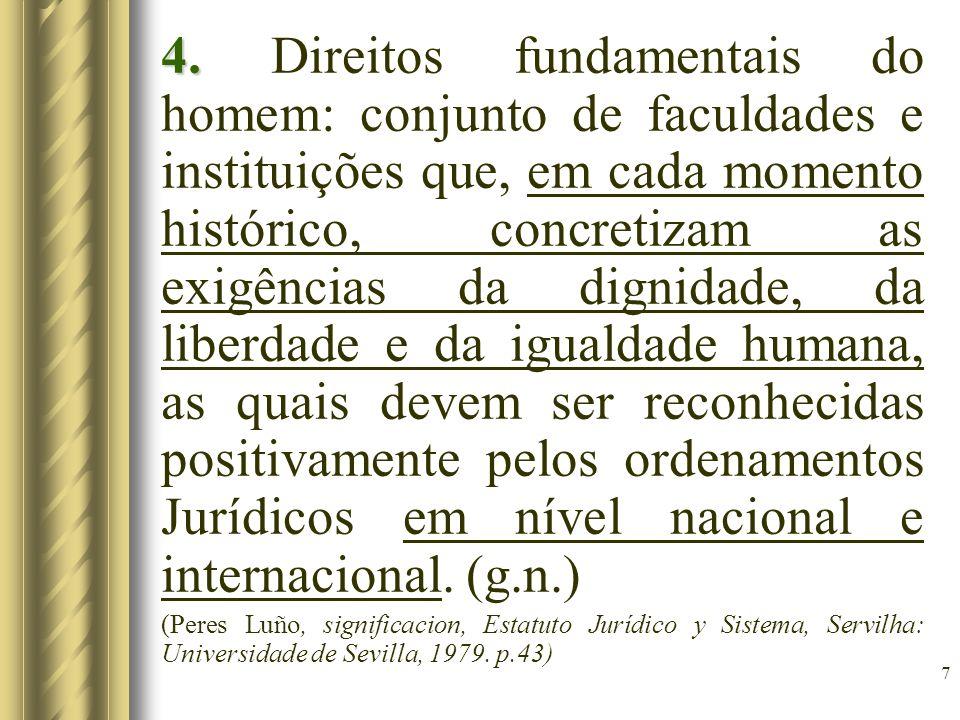 7 4. 4. Direitos fundamentais do homem: conjunto de faculdades e instituições que, em cada momento histórico, concretizam as exigências da dignidade,