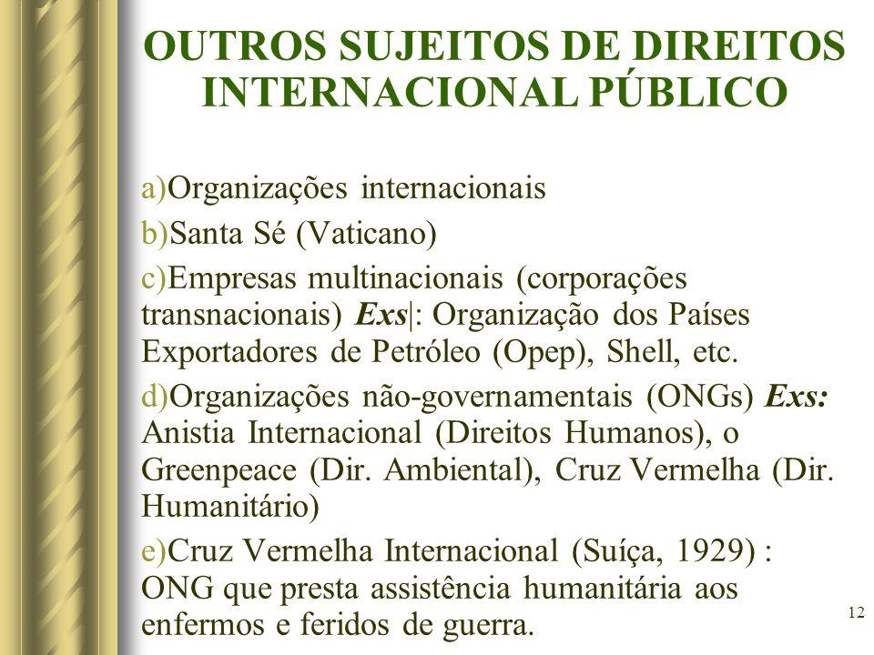 12 OUTROS SUJEITOS DE DIREITOS INTERNACIONAL PÚBLICO a)Organizações internacionais b)Santa Sé (Vaticano) c)Empresas multinacionais (corporações transn