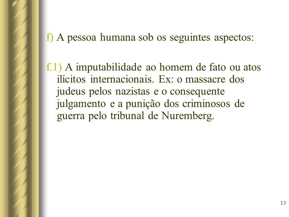 13 f) A pessoa humana sob os seguintes aspectos: f.1) A imputabilidade ao homem de fato ou atos ilícitos internacionais. Ex: o massacre dos judeus pel