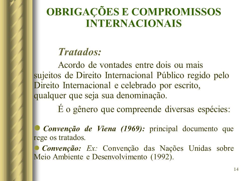 14 OBRIGAÇÕES E COMPROMISSOS INTERNACIONAIS Tratados: Acordo de vontades entre dois ou mais sujeitos de Direito Internacional Público regido pelo Dire